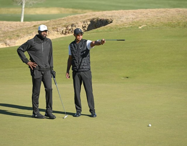 Pictured here with Dwayne Wade, Woods was supposed to give lessons to Drew Brees at course