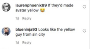 Someone else said she looked like 'the yellow guy from sin city'
