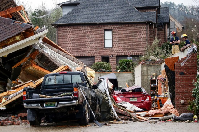 Homes in the Birmingham, Alabama area were completely destroyed