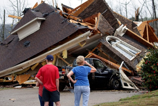 A home in the Birmingham, Alabama area was destroyed by a twister