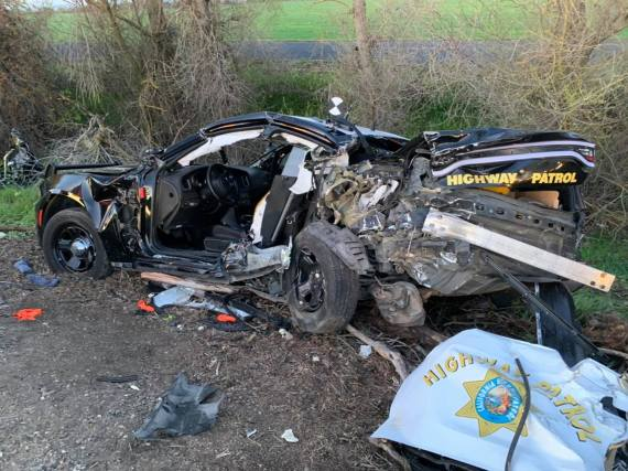 Shocking images show the damage to the California Highway Patrol Vehicle after Oscar Frayer's vehicle rear-ended it