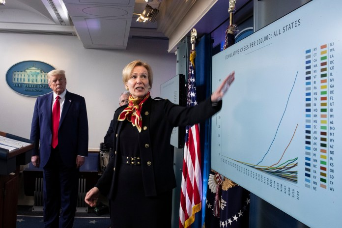Trump watches as Birx gestures to a chart at White House press conference on March 31, 2020
