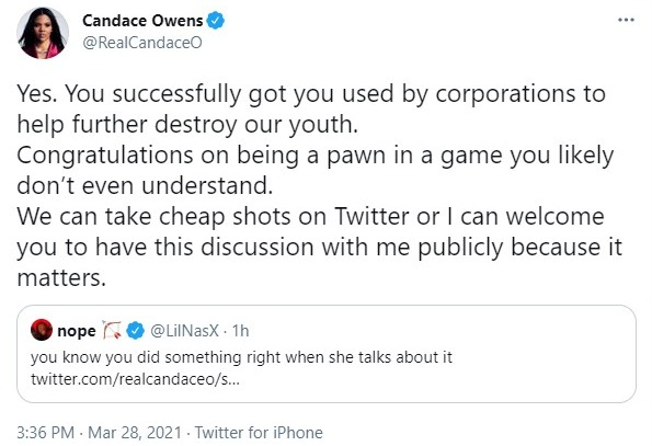 Candace once again hit back