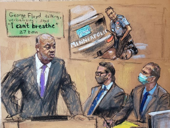 A court sketch shows prosecution attorney Jerry Blackwell showing the video of Floyd's death as defense attorney Eric Nelson and Derek Chauvin watch on
