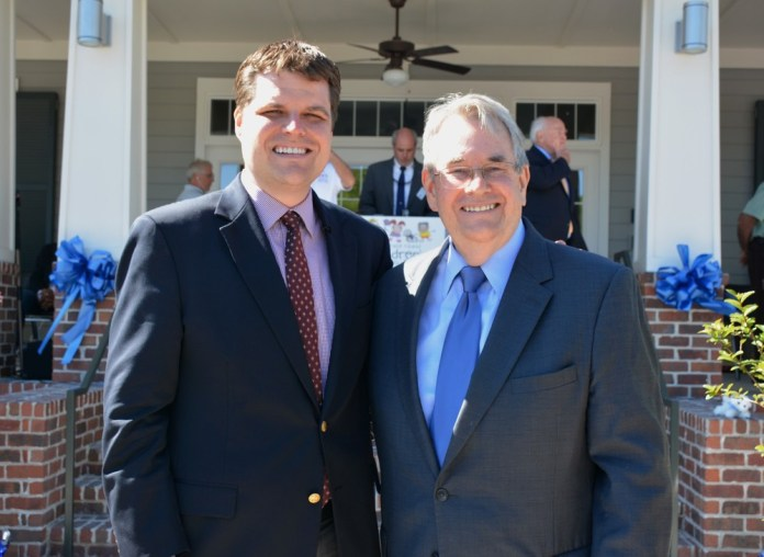Don Gaetz (right) was reportedly prepositioned in the blackmail plot to make his son's 'political problems go away'