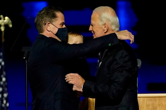 The White House has denied that the Secret Service intervened in the bizarre 2018 incident involving President Joe Biden's son, Hunter (pictured together in November 2020)
