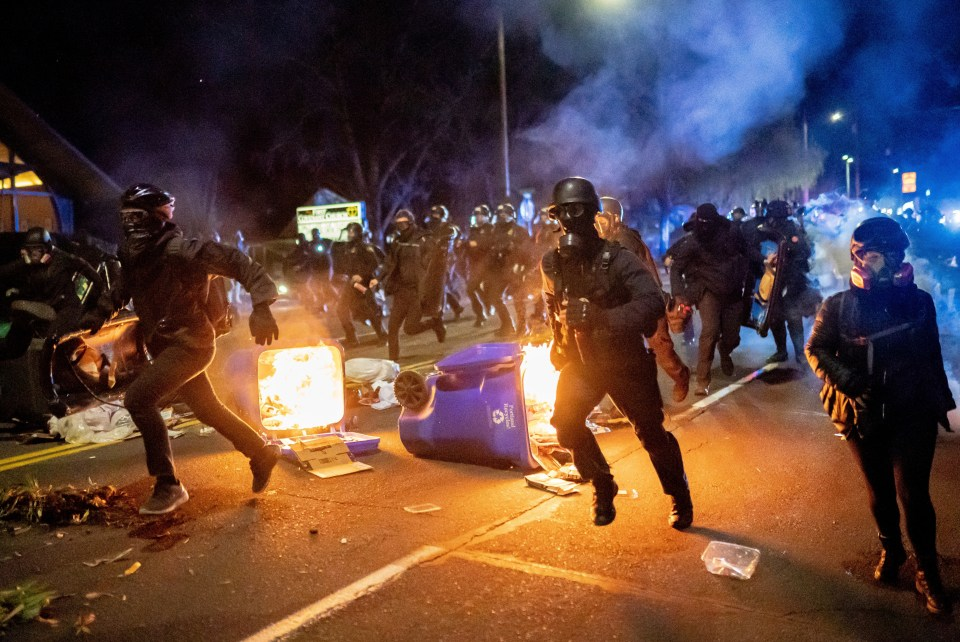 Police responding to a riot in Portland, Oregon