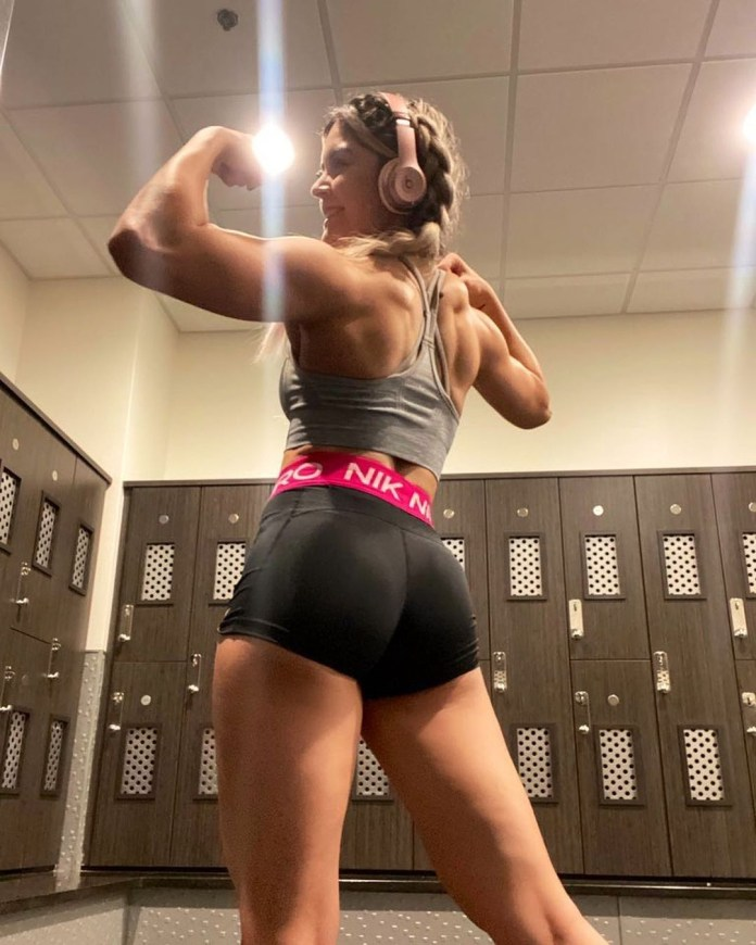 Conti showcases her enviable figure at the gym