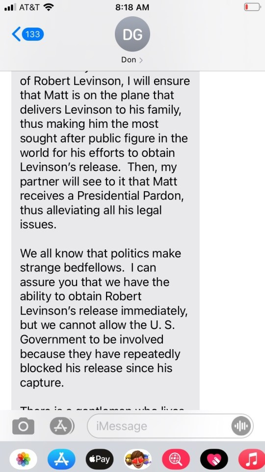 It appears to state that if Gaetz helped them to get Levinson out of an Iranian prison, the FBI probe would 'go away'