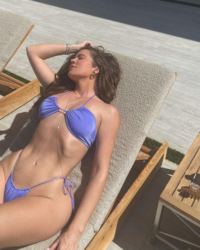 Khloe Kardashian looked saucy in the bikini snaps taken by sister Kylie