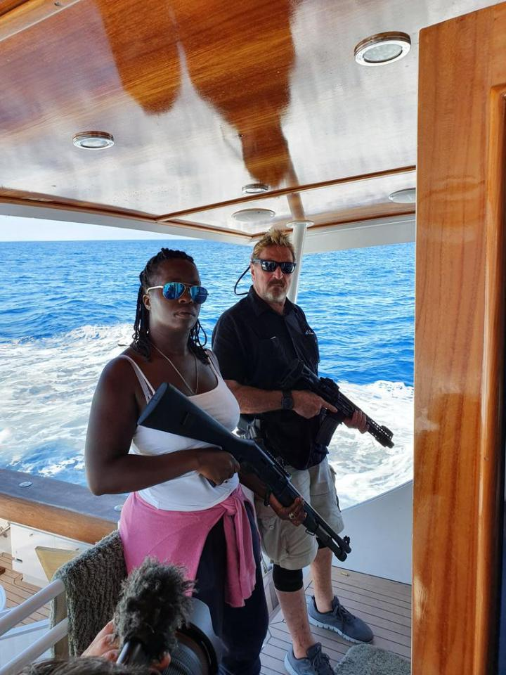 McAfee had lived 'on the run' in international waters with his wife before his arrest