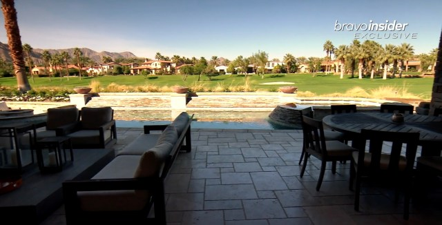 The patio overlooks a golf course