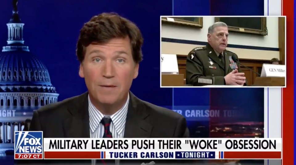 After playing a video clip of Milley, Carlson laughed and criticized the general as 'not just a pig'