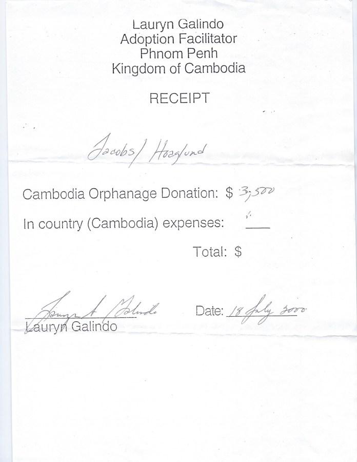 A receipt seen by The Sun shows Galindo listed as the 'adoption facilitator'