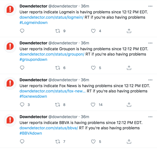 Downdetector also flagged the issues on Twitter