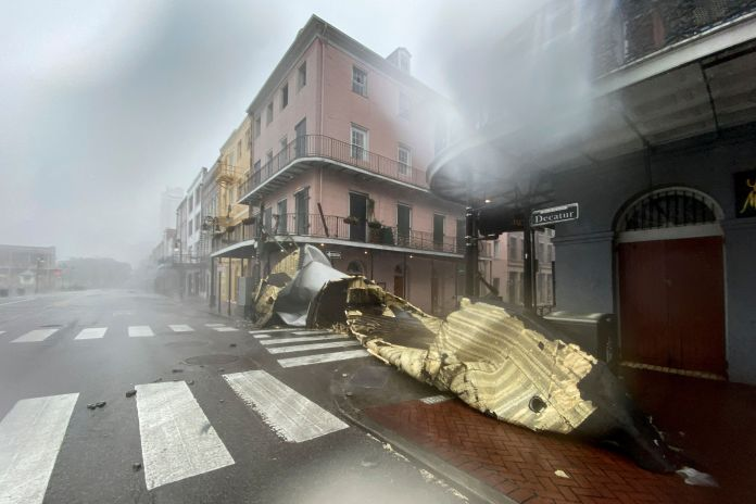 Part of a roof is spotted on the ground in New Orleans