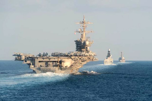 The aircraft carrier USS Abraham Lincoln seen in the Strait of Hormuz in November 2019