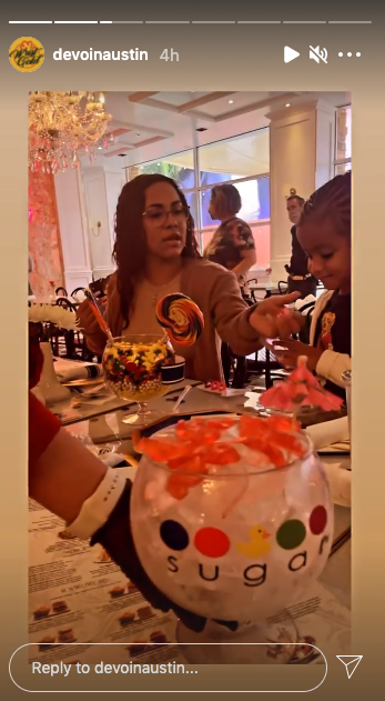 Devoin and Briana sat at the same table for Nova's birthday party