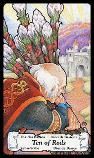 Betekenis Tarotkaart Staven Tien
