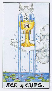 Betekenis van de tarotkaart bekers aas bij het kaartleggen met de tarot