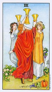 Betekenis van de tarotkaart bekers drie bij het kaartleggen