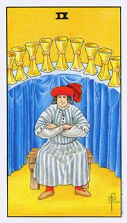 De betekenis van de tarotkaart bekers negen bij het kaartleggen met de tarot.