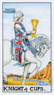 Betekenis van de tarotkaart bekers ridder in het kaarleggen met de tarot.