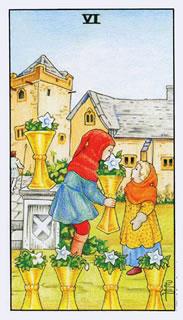 De betekenis van de tarotkaart bekers zes bij het kaartleggen met de Tarot