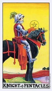 Betekenis van de tarotkaart pentakels ridder in het kaarleggen met de tarot.