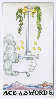 Betekenis van de tarotkaart zwaarden aas bij het kaartleggen met de tarot