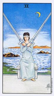 De betekenis van de tarotkaart zwaarden twee bij het kaartleggen met de Tarot