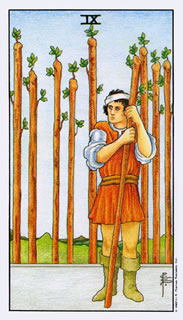 betekenis tarotkaart staven negen bij het kaartleggen met de tarot