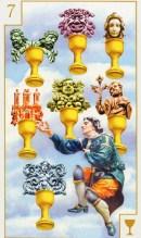 Combinatie van tarotkaarten de Zevens