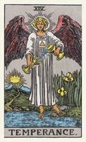 De aartsengel Michaël  op de tarotkaart De Gematigdheid