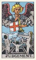 De aartsengel Gabriël op de tarotkaart Het Oordeel