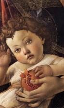 Uitsnede van schilderij van sandro botticelli Christus en Maria met granaatappel