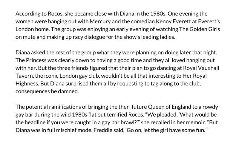 Diana's bulimia - Here's a snippet from actress Cleo Rocos memoir