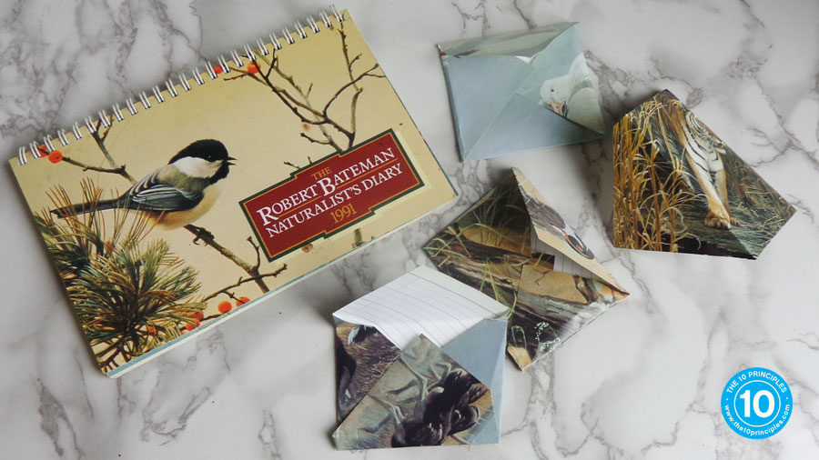 Here's some mini-envelopes I made out of a 1991 Naturalists Calendar I just found on a dog walk