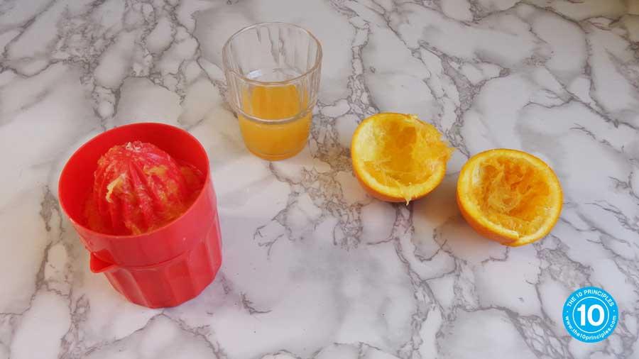But look how much orange juice one orange makes