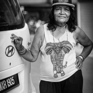 woman elephant graphic t shirt street photography portrait