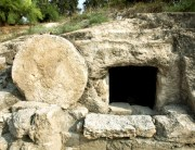 First century tomb in Israel with a circular door rolled open