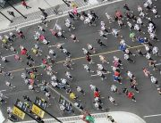 Marathon runners pictured from above