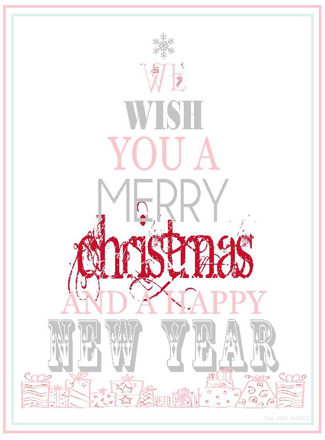 The 36th AVENUE Free Printable Merry Christmas Amp Happy
