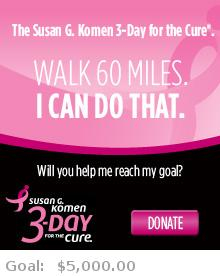 Help me reach my goal for the Susan G. Komen Dallas/Fort Worth 3-Day for the Cure!