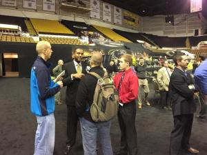 Milwaukee Panthers men's head basketball coach Rob Jeter and I along with other media members at 2014 Panther Media Day.