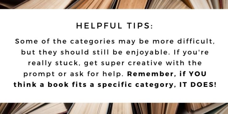 The 52 Book Club's 2021 Guide -- helpful tips for participants! If you think a book fits a specific category, it does!