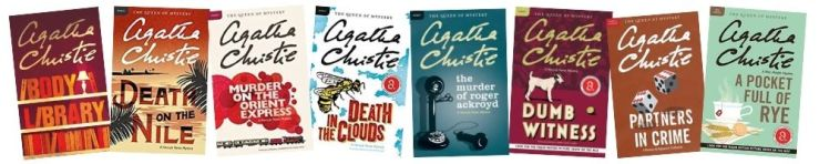 The Agatha Christie Mystery Challenge -- photo of eight different Agatha Christie covers in a row