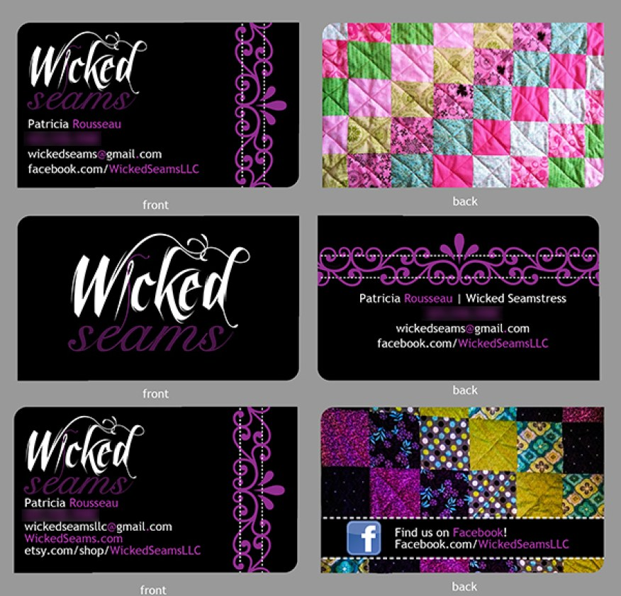 Wicked Seams Business Card & Logo Design, 2012