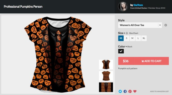 David S Pumpkins T Shirt Costume, 2017