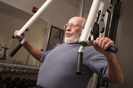 Avtive senior working out at the gym